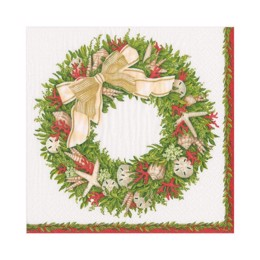 Caspari servietter - Ivory Shell Wreath