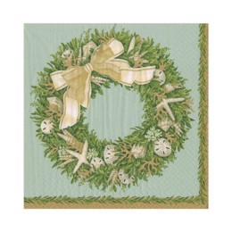 Caspari servietter - Pale Blue Shell Wreath