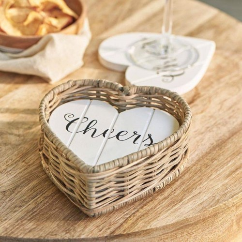 Riviera Maison Rustic Rattan Heart Coasters (sæt med 4 stk)