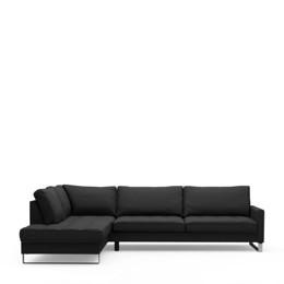 Riviera Maison West Houston Corner Sofa Chaise Longue Left, Oxford Weave, Basic Black (Bestillingsvare)