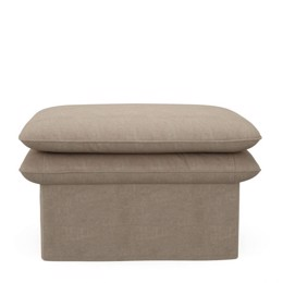 Riviera Maison puf -  Continental Footstool 80x80, washed cotton, natural (Bestillingsvare)