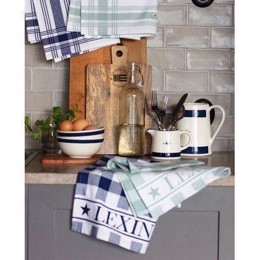 Lexington Hotel Gingham Kitchen Towel - blå/hvid ternet viskestykke