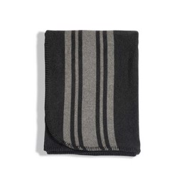 Lexington Striped Wool Blanket, Gray - plaid 140x200 cm
