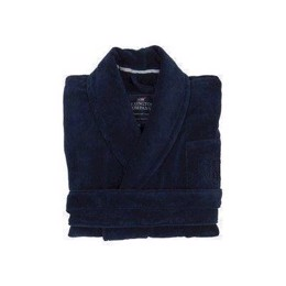 Lexington Unisex Hotel Velour Robe Dress Blue - Mørkeblå badekåbe
